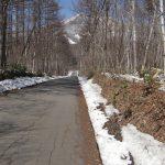 前面道路南より。飯綱山を望む。